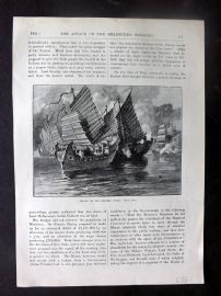 Cassell 1896 Antique Print. Attack on the Chinese Junks, China